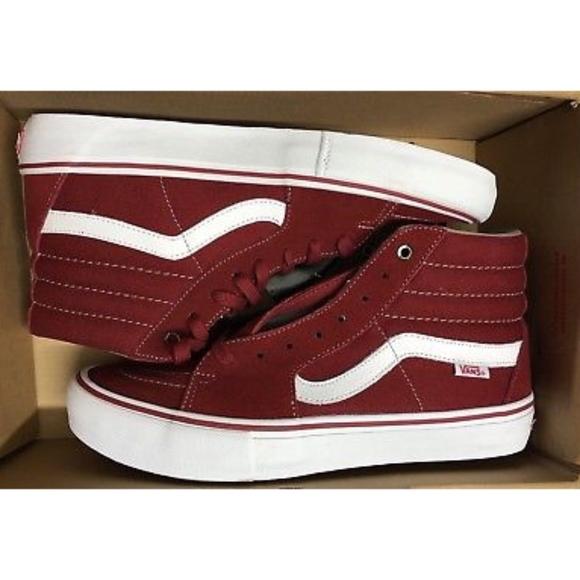 a5c71d634dd Vans Sk8 Hi Pro Classics Red Dahlia White Shoes